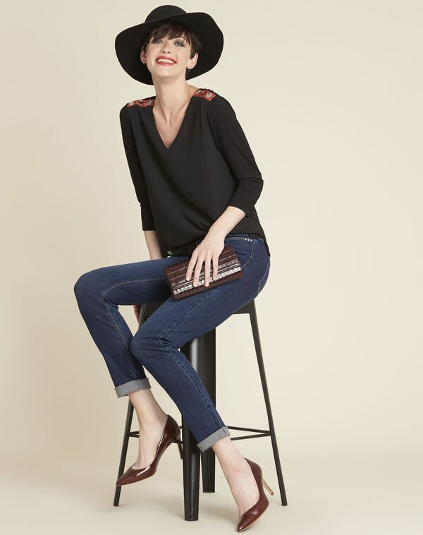 Coraolie black blouse with jewelled detailing on the shoulders (2) - 1-2-3