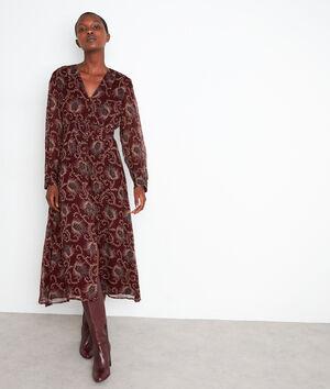 Robe mi-longue imprimée bordeaux Stecy