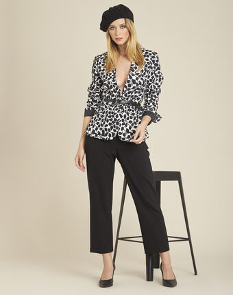 Hermane wide-leg black 7/8 length trousers black.