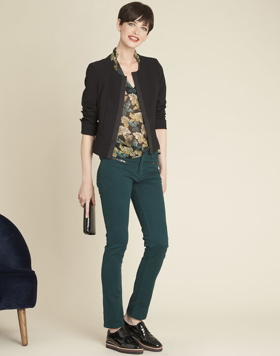 Germain dark green straight-cut jeans with zipped pockets (2) - Maison 123