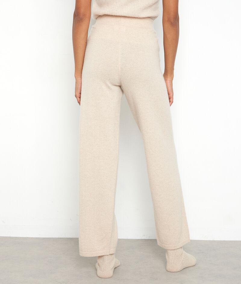 Beige brede broek van gerecycled kasjmier Tanis PhotoZ   1-2-3