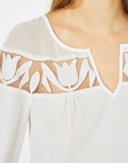 Delcia ecru blouse with petal detailing (3) - 1-2-3