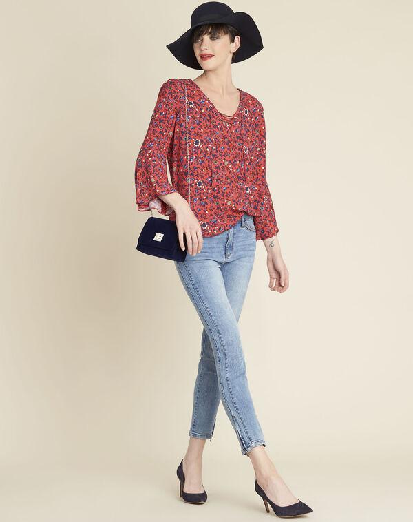 Roze blouse met bloemenprint en veterhals Constance (1) - 37653