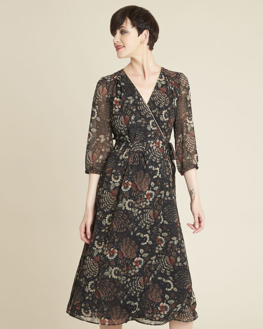 Damaris black wrap-over dress with floral print (2) - 1-2-3