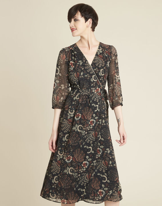 Damaris black wrap-over dress with floral print PhotoZ | 1-2-3