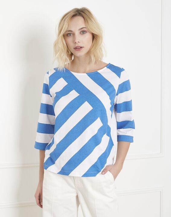 Tee-shirt bleu rayures graphiques Palinette PhotoZ | 1-2-3