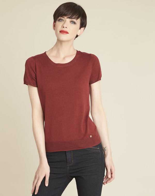 Pull acajou fin col rond Begonia (1) - 1-2-3