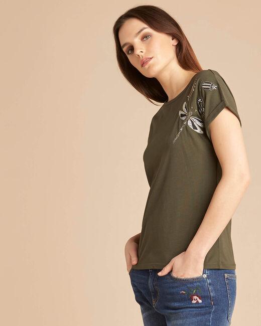 Epirrhoe short-sleeved khaki T-shirt with embroidery (2) - 1-2-3