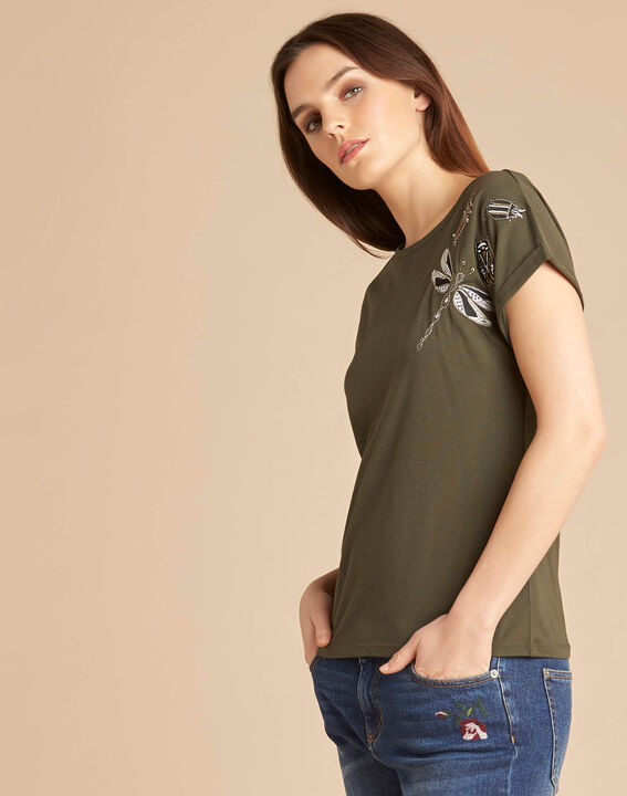 Tee-shirt kaki à broderies manches courtes Epirrhoe (3) - 1-2-3