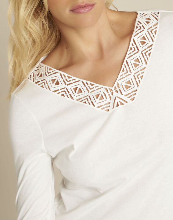 Ecrufarbenes T-Shirt mit verziertem Ausschnitt Guipure (3) - 1-2-3