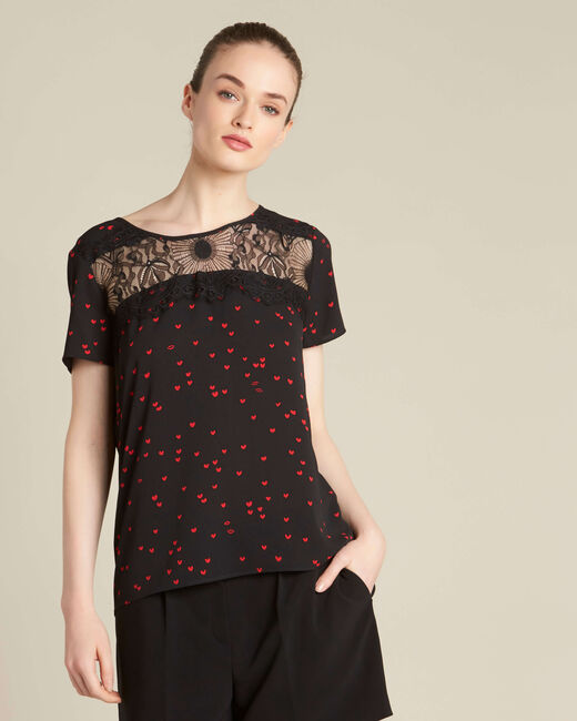 Go black heart printed top with lace (2) - 1-2-3