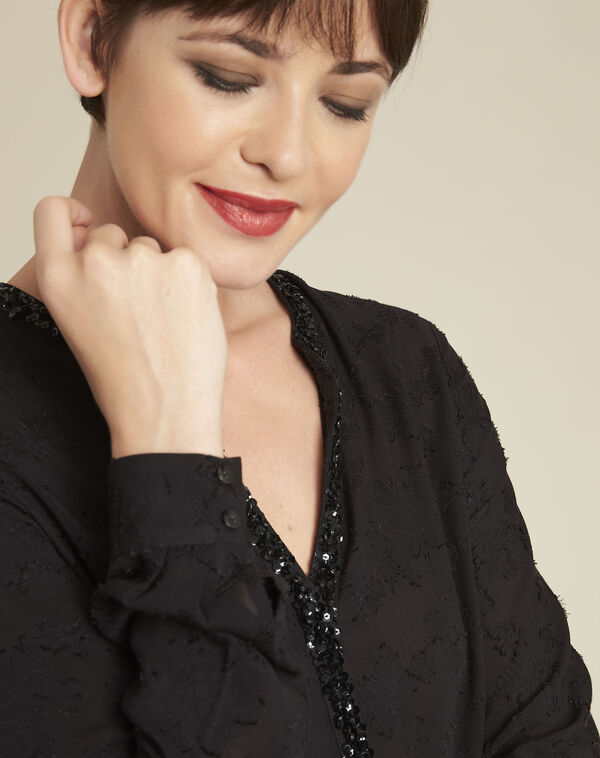 Chayotte black devore blouse with jewelled neckline (2) - 1-2-3