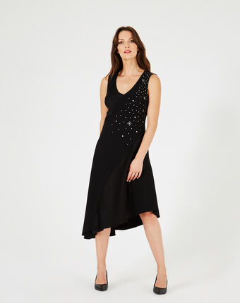 Robe noire dansante ornée de cristaux swarovski beverly noir.