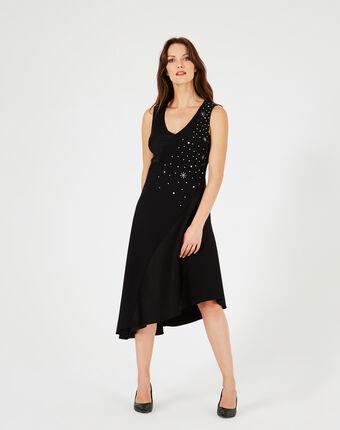 Beverly black dress adorned with swarovski crystals black.