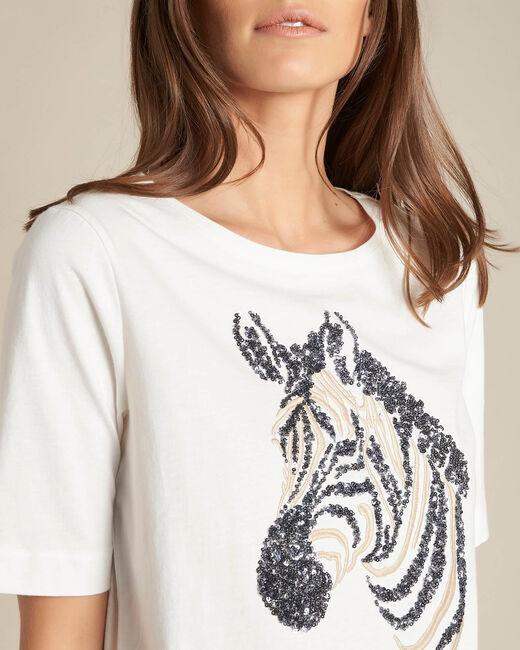 Tee-shirt écru brodé zèbre Energy (1) - 1-2-3