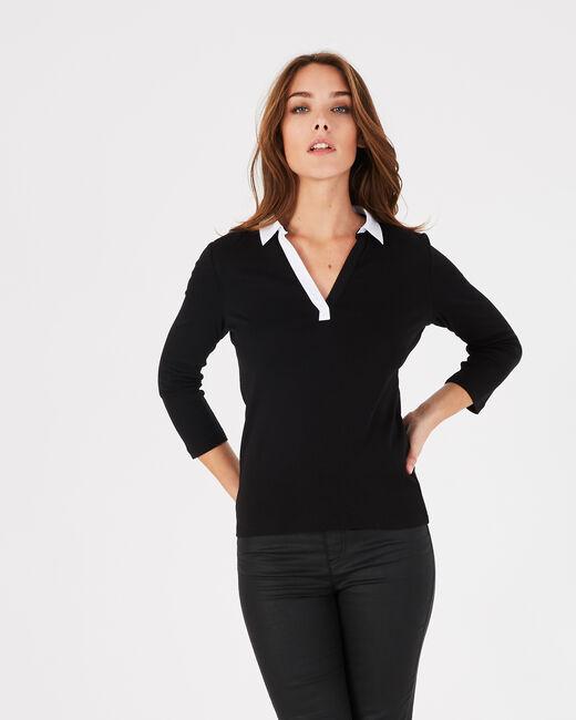Tee-shirt noir col chemisier Bowling (2) - 1-2-3