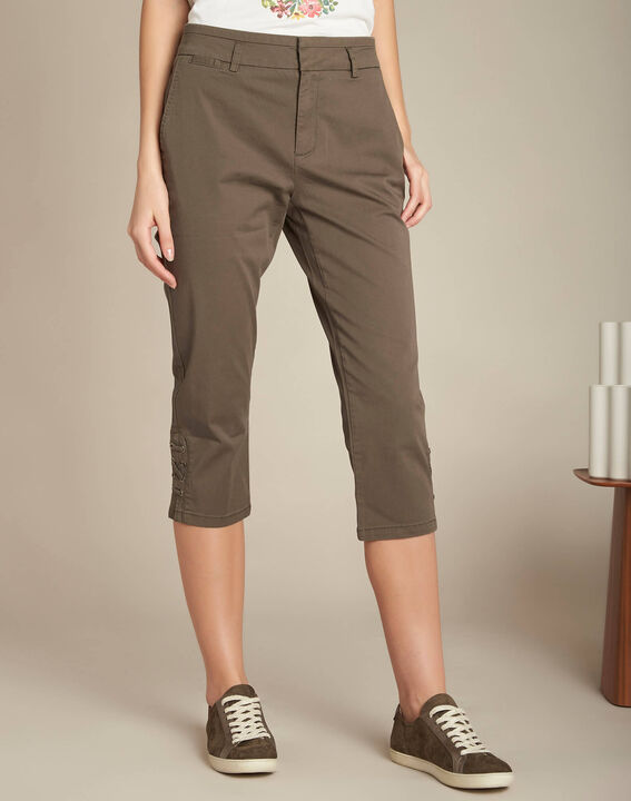Jamy khaki cotton cropped trousers with lacing (3) - 1-2-3