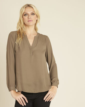 Christine khaki blouse with v-neckline kaki.