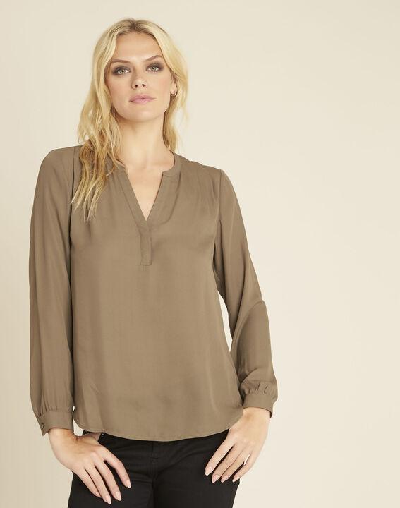 Khakifarbene Bluse mit V-Ausschnitt Christine PhotoZ | 1-2-3