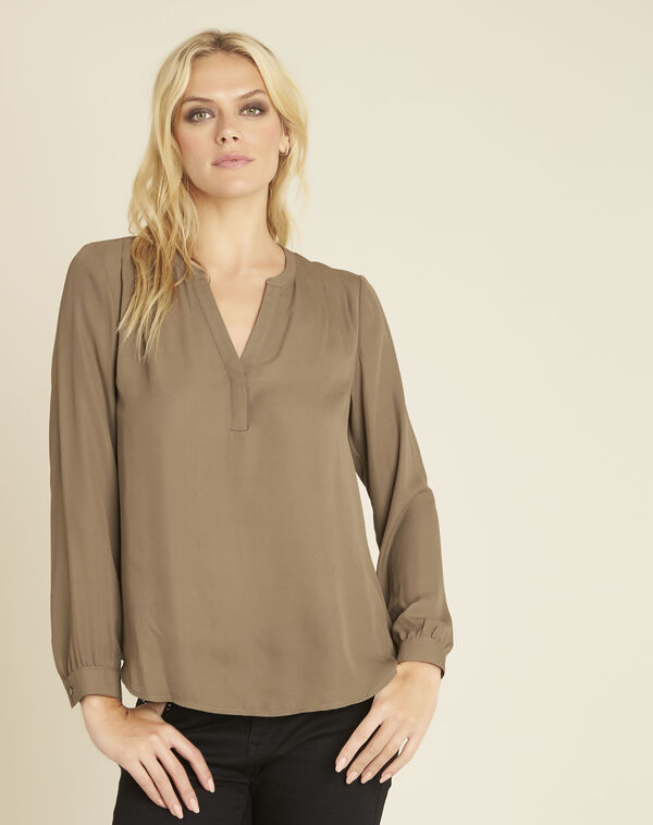 Christine khaki blouse with V-neckline (2) - 1-2-3