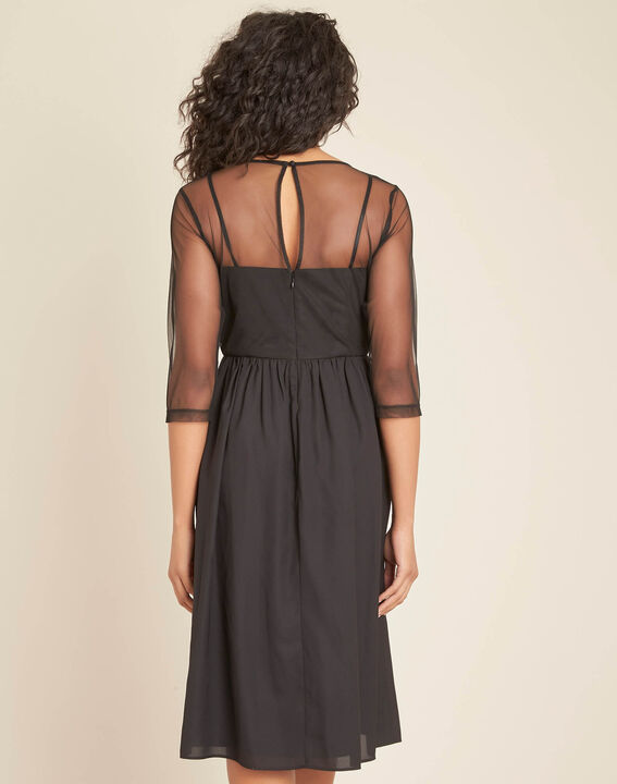 Ipnose black embroidered dress in tulle (4) - 1-2-3