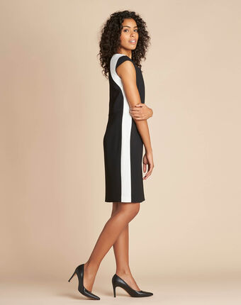Abricot black straight-cut crepe dress black/white.