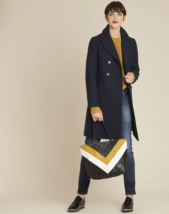 Ermoine navy wool coat royal blue.