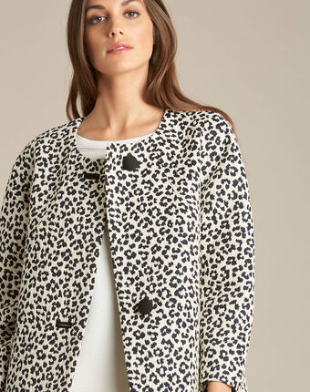 Kelly jacquard jacket in leopardskin print black/white.