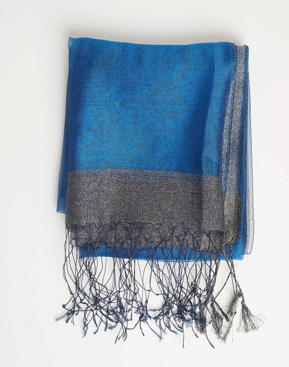 Königsblaue glänzende Stola aus Seiden-Mix Annie (2) - 1-2-3