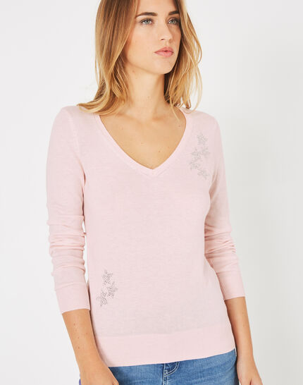 Planète pale pink sweater with V-neck and diamante (3) - 1-2-3