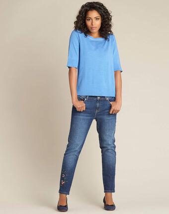Blauwe trui met korte mouwen van wol en zijde nevada bleu moyen.