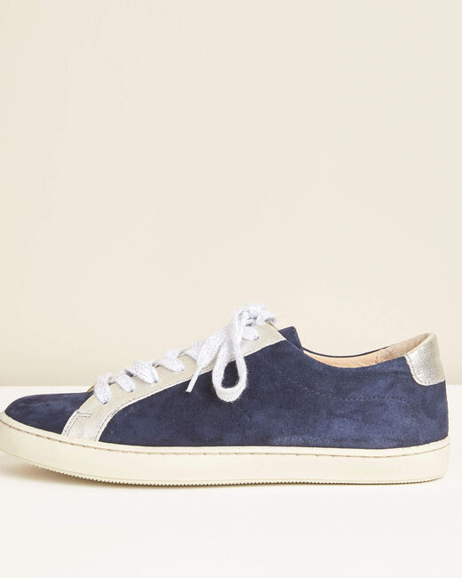 Marineblaue Sneakers im Materialmix Kamille (2) - 1-2-3