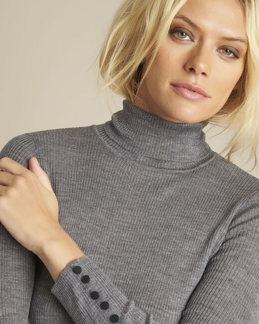 Basile grey fine-knit turtleneck pullover (2) - 1-2-3