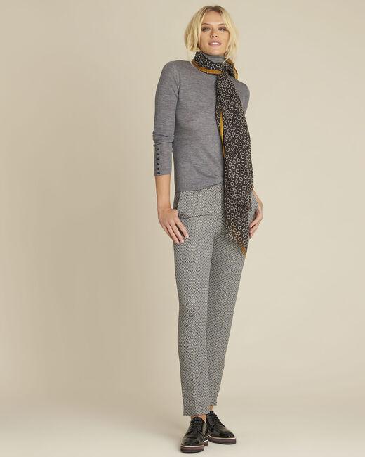 Foulard noir imprimé pois en laine Fabiene (2) - 1-2-3