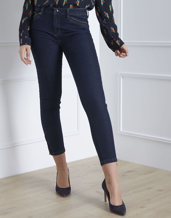 Opera slim-cut zipped navy blue jeans (2) - 1-2-3