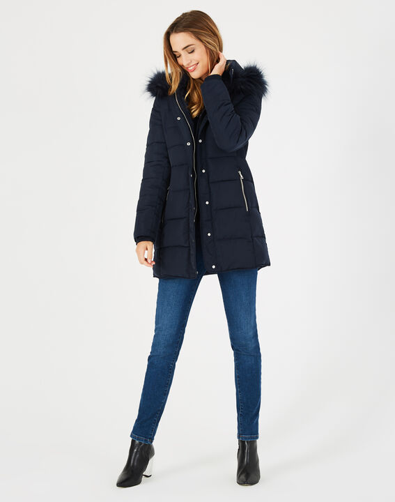 Lisa mid-length navy blue puffer jacket with faux fur PhotoZ | 1-2-3