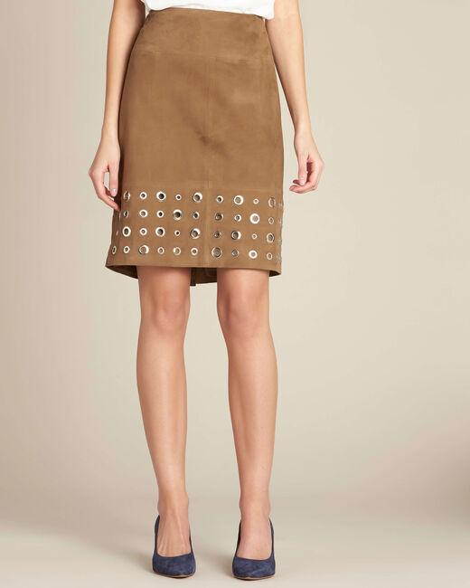 Lilou khaki suede skirt (2) - 1-2-3