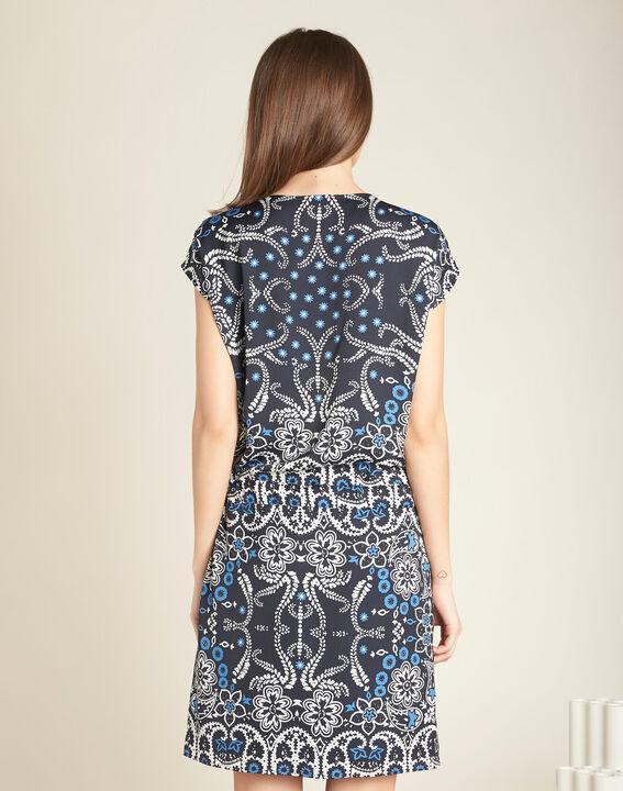 Pauline navy blue floral printed dress with belt (4) - 1-2-3