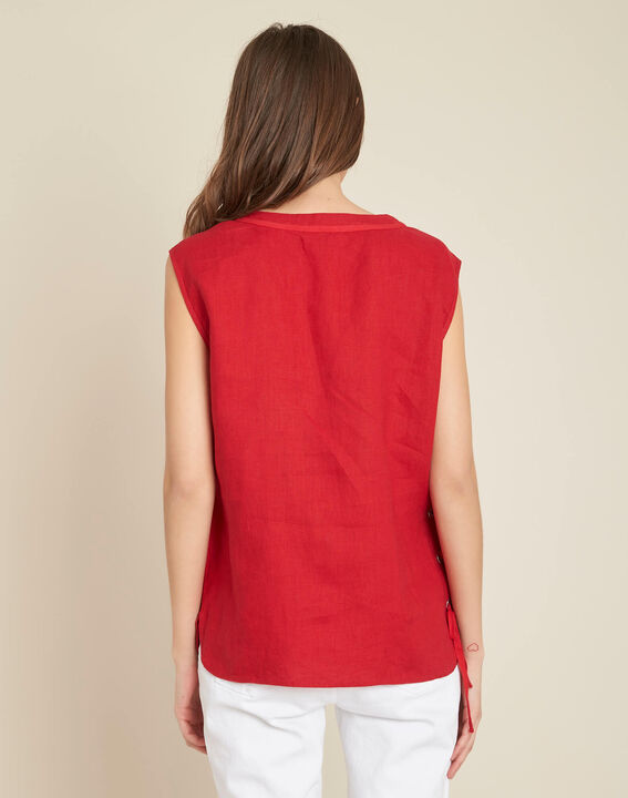 Gally red linen T-shirt with lacing (4) - 1-2-3