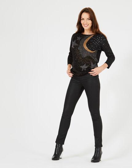 Prusse Black jacquard sweater adorned with Swarovski crystals (1) - 1-2-3