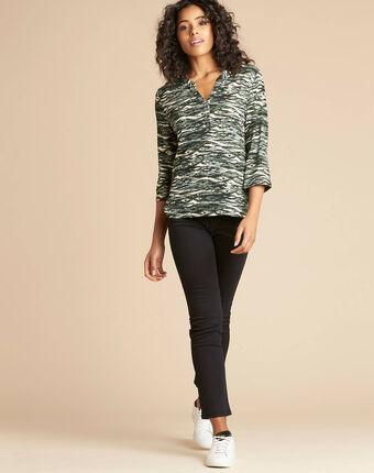 Khakifarbenes print-t-shirt mit tunika-kragen esnake kaki.