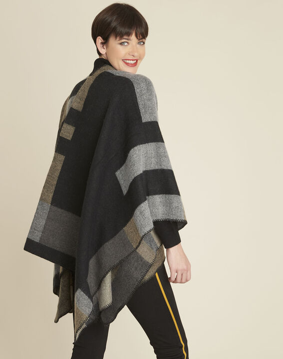 Fidele anthracite checked poncho (4) - 1-2-3
