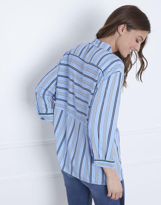 Blaue Bluse mit Streifenspiel Darwin (4) - Maison 123