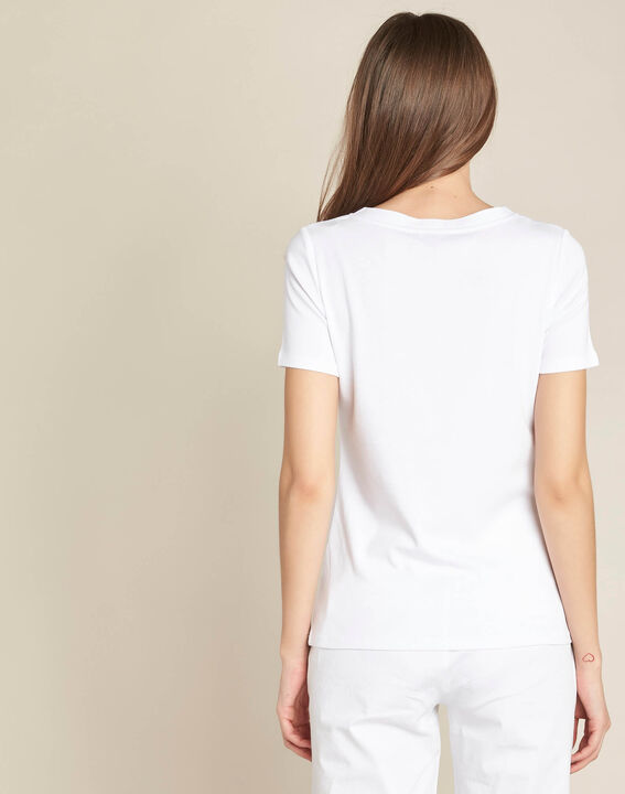 Tee-shirt blanc encolure oeillets Evidence (4) - 1-2-3