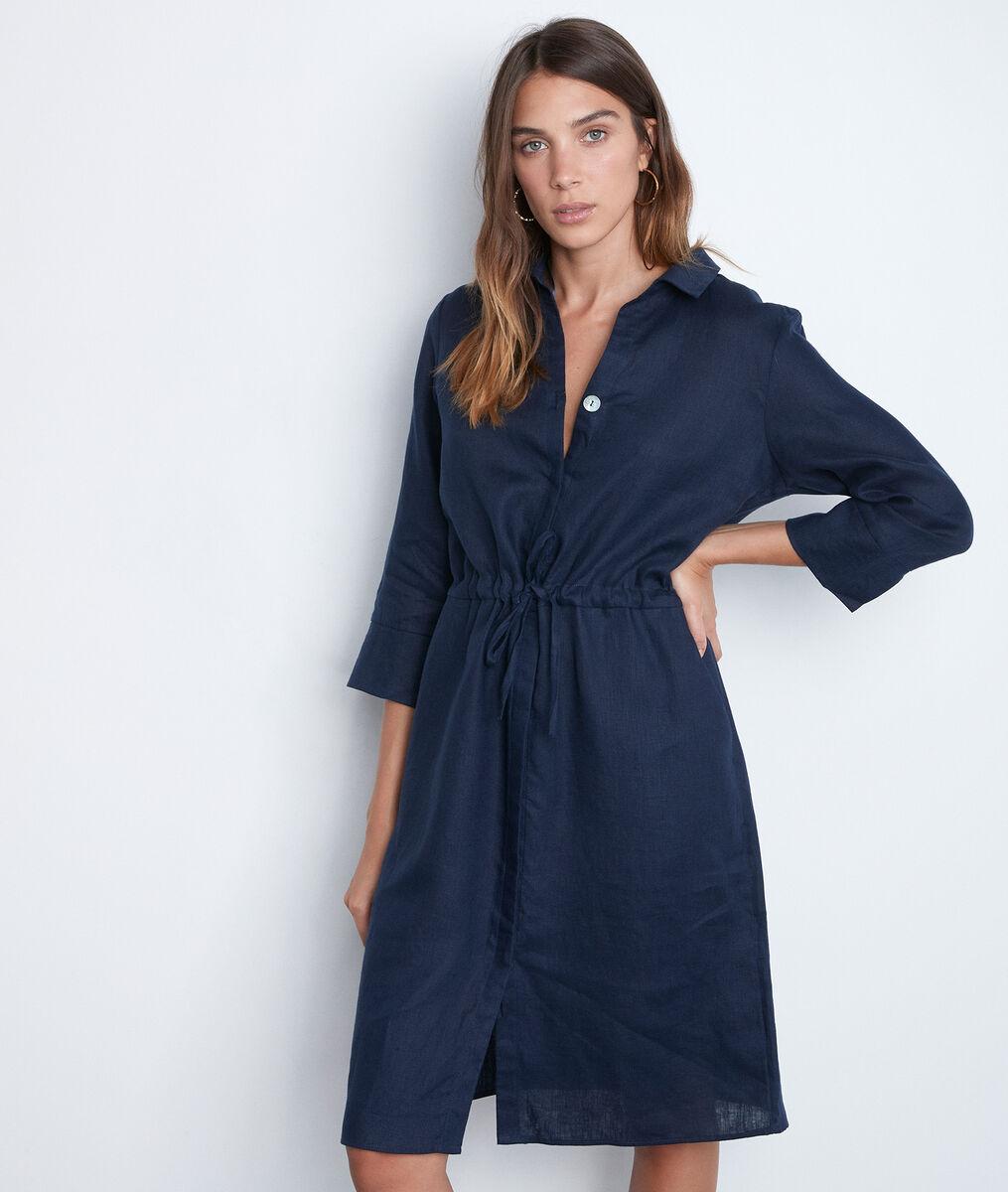 Robe chemise en lin bleu marine Luna PhotoZ | 1-2-3