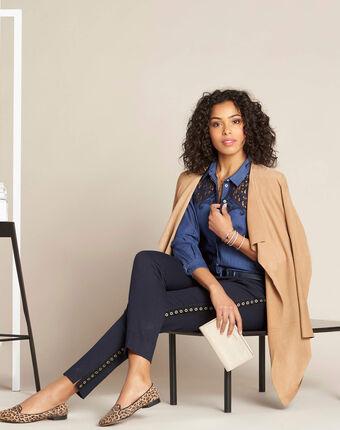 Chemise en jean détail dentelle garlene indigo fonce.