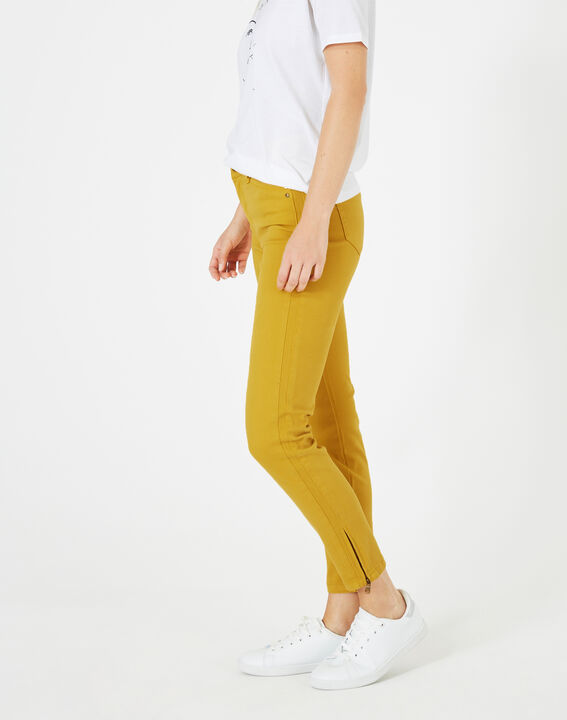Pia yellow 7/8 length satin trousers PhotoZ | 1-2-3