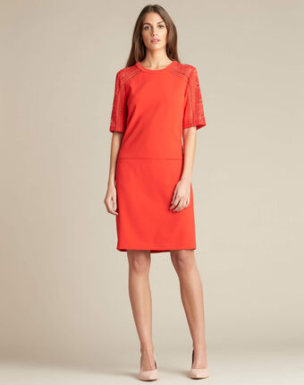 Pastel dual-fabric red lace dress red.