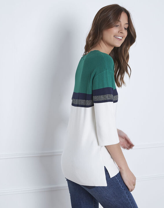 Absynthe green colourblock striped pullover (4) - Maison 123
