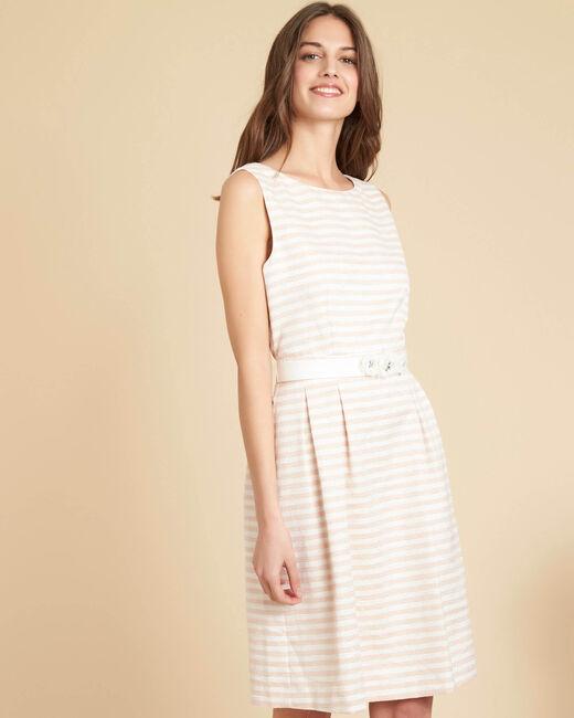 Gestreepte poederkleurige jurk met bloemenceintuur Irina (2) - 37653